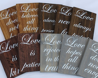 Set of 10 Wedding Aisle Signs, Love is Patient Signs, Wood Wedding Sign, 1 Corinthians 13:4, Rustic Country ,Isle Sign