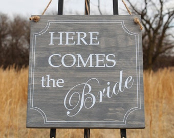 Wedding sign,Here Comes the Bride Sign, Flower Girl Sign, Ring Bearer Sign,Classic Wedding Sign,Wooden Wedding Sign,Wedding Decor,Bride Sign
