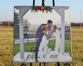Wedding Gift Photo on Wood,Personalized Photo Wedding Gift for Couple,Photo on Wood,Photo on Board,Picture on Wood,Rustic Photo,Engagement