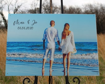 Gift for Couple,Custom Photo on Metal,Picture on Metal,Rustic Photo,Personalized Engagement Gift,Personalized Wedding Gift,Photo Gift