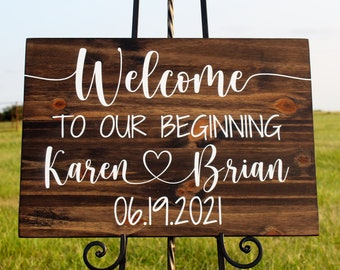 Wedding Welcome Sign, Welcome to our Beginning Wooden Sign, Personalized with Name and Date, Wedding Decor