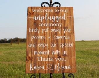 Personalized Welcome to Our Unplugged Ceremony Wedding Sign, Wedding Aisle Sign, Ceremony Sign, No Phones Sign, Unplugged Sign