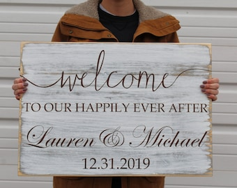 Wedding Welcome Sign, Welcome to our Happily Ever After Weathered Wooden Sign, Personalized with Name and Date, Wedding Decor
