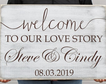 Wedding Welcome Sign, Welcome to our Love Story Weathered Wooden Sign, Personalized with Name and Date, Wedding Decor