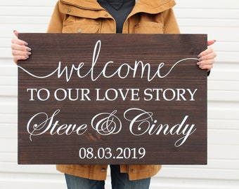 Wedding Welcome Sign, Welcome to our Love Story Wooden Sign, Personalized with Name and Date, Wedding Decor