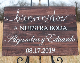 Wedding Welcome Sign, Bienvenidos A Nuestra Boda, Personalized with Name and Date, Hispanic Wedding Decor