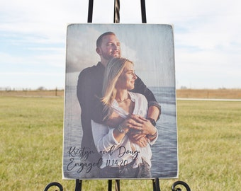 Engagement Gift Photo on Wood, Personalized Photo Wedding Gift for Couple, Photo on Wood, Photo on Board, Picture on Wood, Rustic Photo