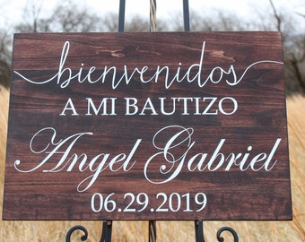 Baptism Welcome Sign, Bienvenidos A Mi Bautizo, Personalized with Name and Date, Hispanic Baptism Decor