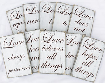 Set of 10 Wedding Aisle Signs, Love is Patient Signs, Wood Wedding Sign, 1 Corinthians 13:4,Wedding Table Decor,Weathered Rustic,Isle Sign