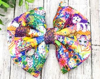 Girls Hair bow Cartoons Hair Bow Stretch Hair bow Baby Hair Bow 90/'s Fabric Bow 90/'s Fabric Stretch Bow