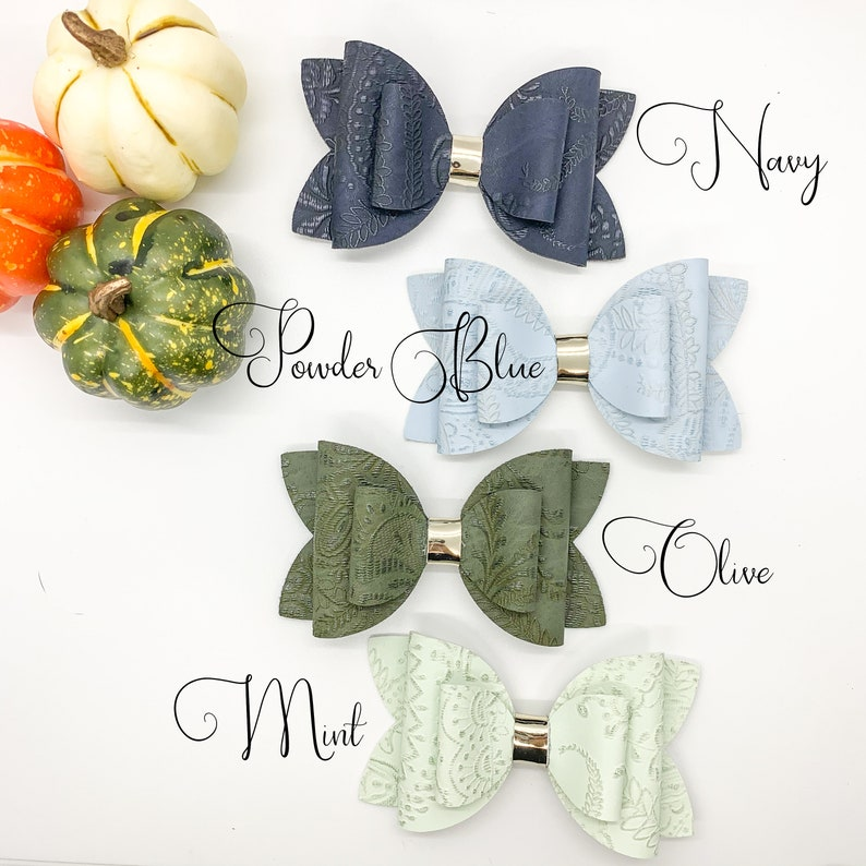 Baby Hair Bow Embossed Hair bow Lace Embossed Petunia Bow Embossed Faux Leather Bow Girls Hair Bow