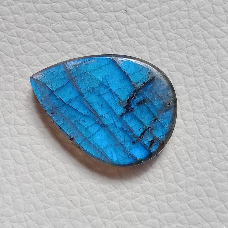 Pear Shape Green Blue Flashy Labradorite Crystal 100/% Natural Labradorite Gemstone Size 35x25x7mm 54Cts AAA+ Quality Labradorite Cabochon