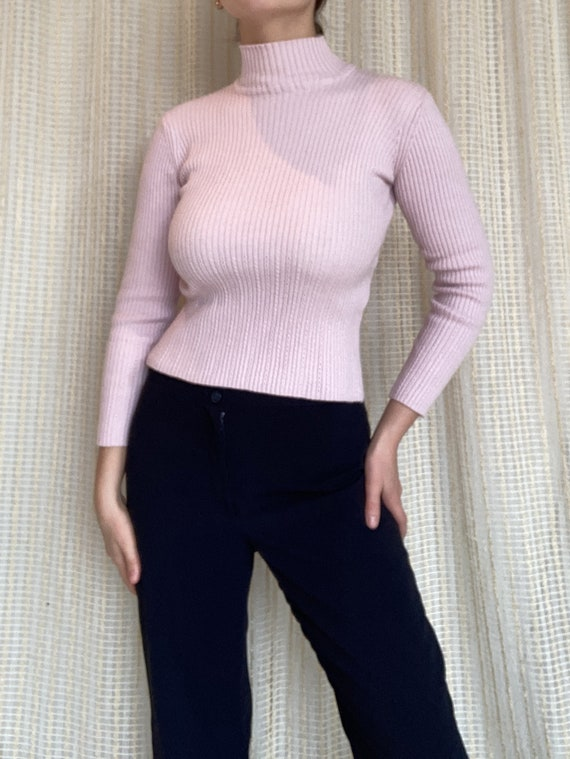 Pale pink turtleneck sweater, size XS S / Pale pi… - image 1