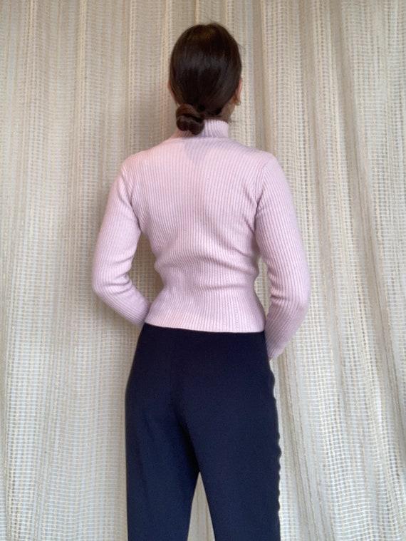 Pale pink turtleneck sweater, size XS S / Pale pi… - image 2