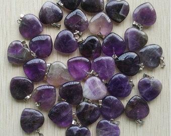 Wholesale 50pcs//lot charms natural amethyst stone Heart-shaped Beads Pendants