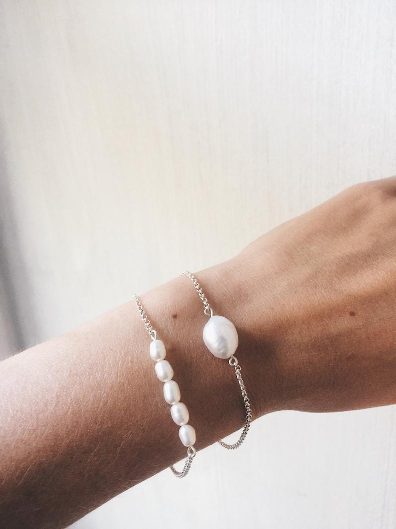 Dainty pearl bracelet Chain pearl bracelet Petite bridal bracelet Black Friday sale Tiny pearl jewelry Wedding bracelet