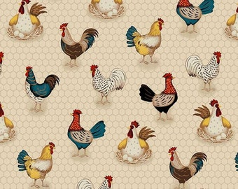 "/""Here Here Chick/"" Chicken Themed Cotton Fabric 110cm wide per metre"