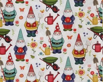 Gnomes and Toadstools Pink 100/% cotton FQ Fat Quarter 1//2 Half Full Metre