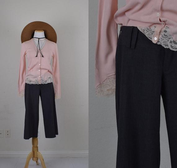 Low Waist Gray Gaucho Pants - image 1