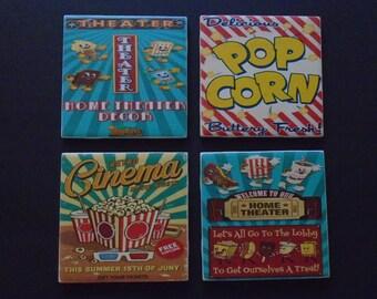 Cinema Decor Theater Room Bar Coaster Retro Movie Cinema Drink Coaster Gift