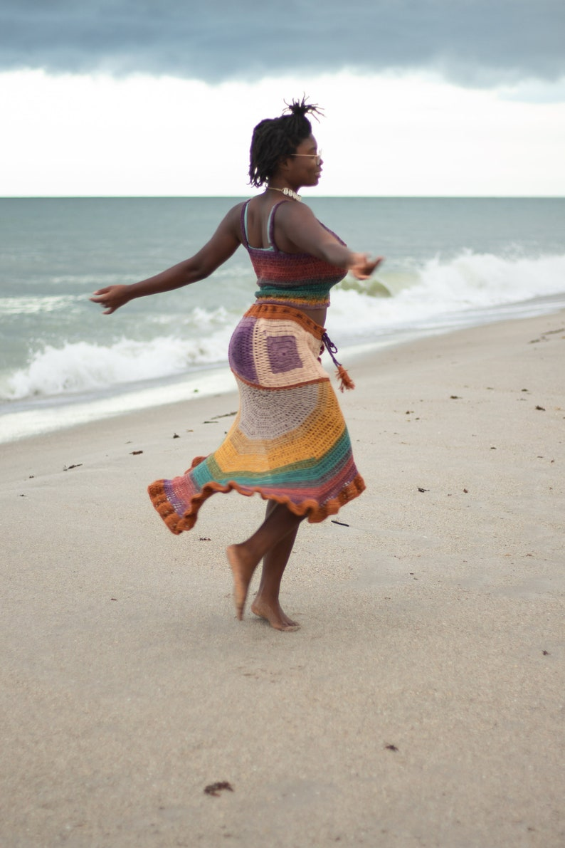 Hippie Ruffle Skirt Multicolored and One of A Kind Crochet Skirt with Slit and Ruffles Bohemian Clothing Crochet Boho Moana Skirt