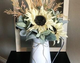 Farmhouse Floral Arrangement, Everyday Decor Floral Arrangement, Fall Floral Arrangement, Tabletop Floral Arrangements, Rustic Table Decor,
