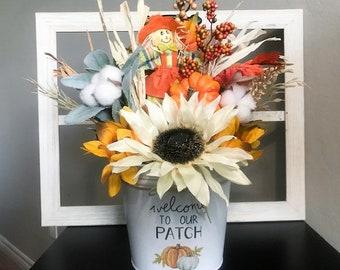Farmhouse Fall Floral Arrangement, Fall Floral Arrangement, Fall flower Arrangement, Rustic Fall Table Decor