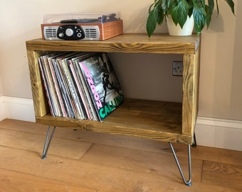 Storage Unit - Rustic Record Player - Vinyl Storage Unit - Toy Storage - TV Unit - TV Stand - Music Media Unit with Hairpin Legs