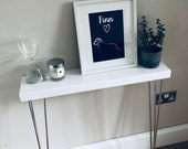 CHROME Legs - Narrow Slim Console Table with Hairpin Legs - Landing, Hallway, Small Space - White gloss Chrome Legs
