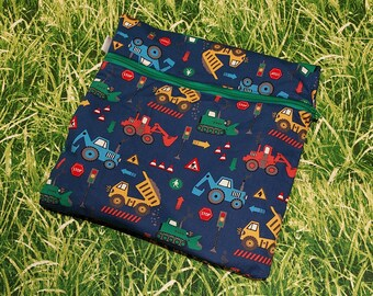 """Wetbag / Wet bag """"Excavator"""" ; waterproof for pads, cloth diapers Kita swimming pool wet change of clothes"""