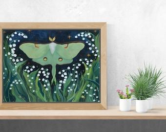 Luna Moth & Lillies of the Valley Art Prints
