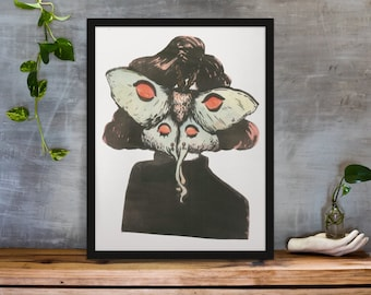 Moth Faced Poster Print