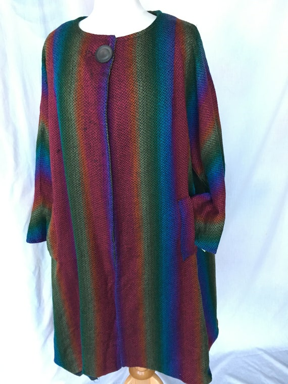 Vintage 60's Mod Rainbow Tweed Swing Coat