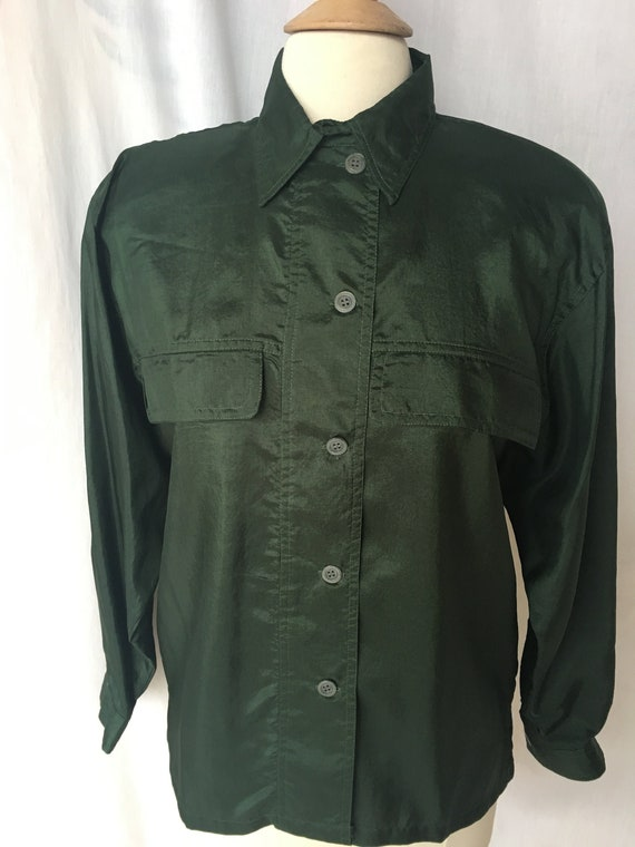 Vintage 90's Dark Forest Green Silky Camp Style Bl