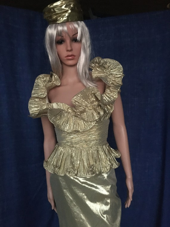 Vintage 80's Metallic Gold Lame Prom / Cocktail Dr