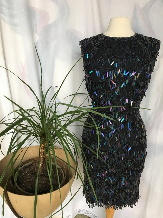 Vintage 90's Silk Black/Dark Blue Dangling Sequins
