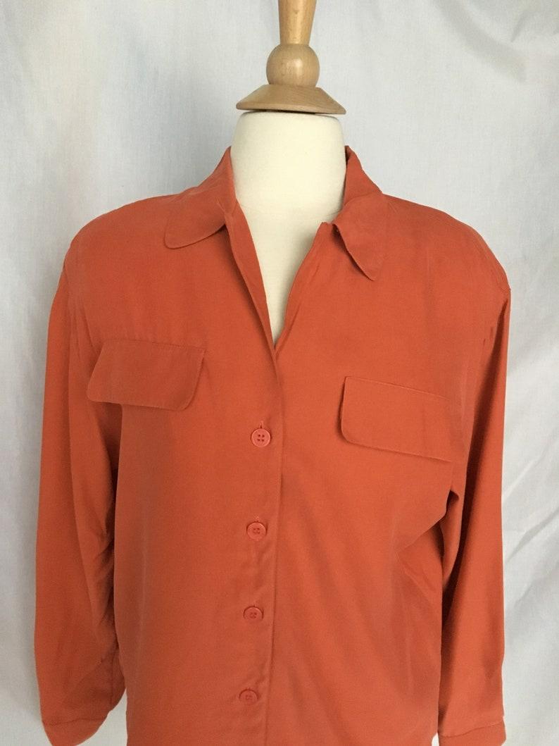 Vintage 90\u2019s Chaus Silk Salmon Colored Blouse