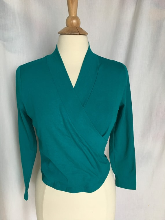 Vintage 80's/90's Teal Mock Wrap Style Knit Top by