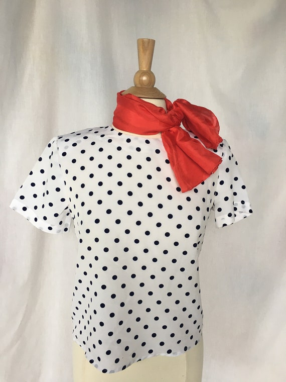 Vintage 80/'s Polka Dot Pattern Blouse Pin Up Blouse Women/'s Short Sleeve Top Navy Blue /& White Top Lace Collar Polyester Blouse size L