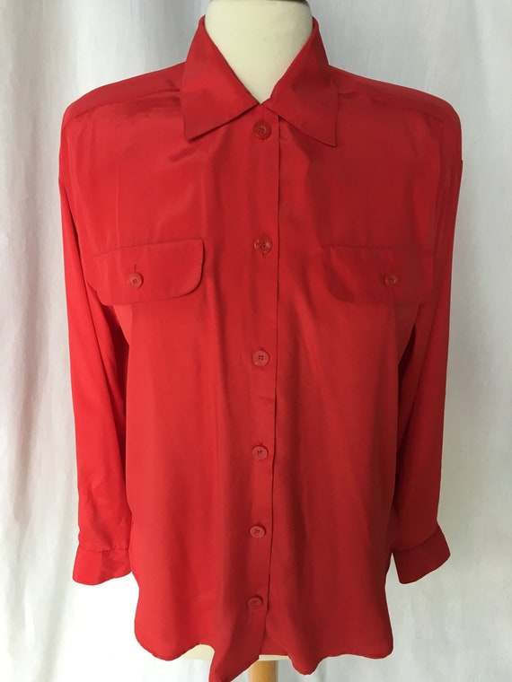 Vintage 90's Red Silky Blouse by Josephine