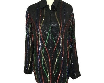 Size M Retro Disco Glam High Fashion Holiday Formal Vintage Retro Red Sequin Beaded Designer Silk Blouse by Rina Z New York Montreal Paris
