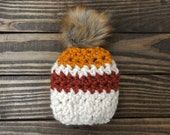 Striped Chunky Pom Hat