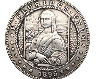 Hobo Nickel Coin 1881-CC Morgan Dollar Guns Girl COIN