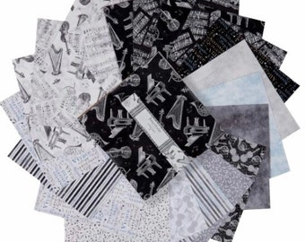 Interlude cotton fabric layer cake 10 Karat Crystals Wilmington Prints musical music black and white