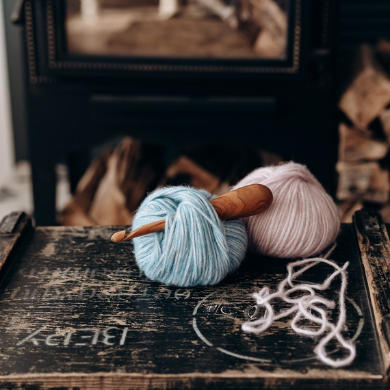 7 mm. cherry wood Wooden crochet hook for crocheting