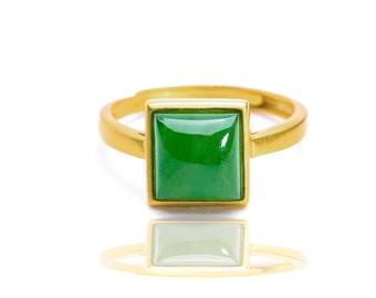 Treasure Bottle Sterling Silver Rings 18K Gold PlatedAdjustable Ring Green Jade Ring The Mindfulness Jade