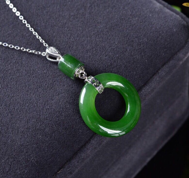 Green Jade Pendant Necklace The Mindfulness Jade Eternity Ring Sterling Silver Pendant Necklace