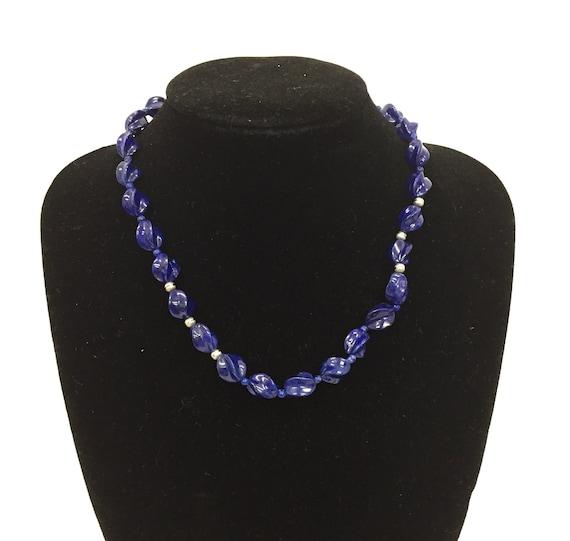 Genuine Lapis lazuli necklace/ Sterling Silver 925