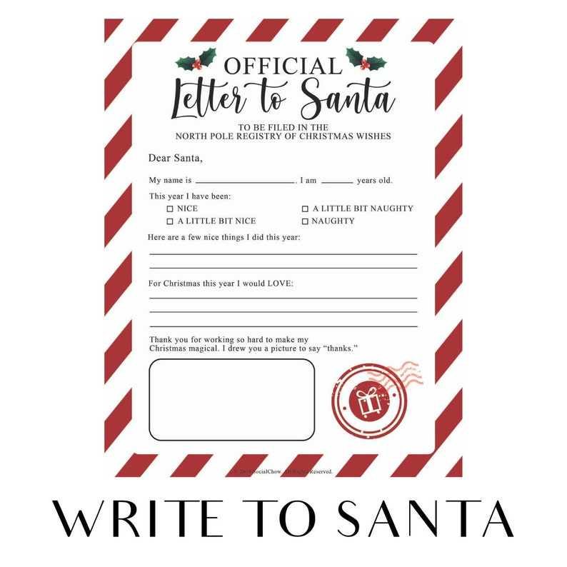 Letter to Santa Claus  PRINTABLE Instant download Wish image 0