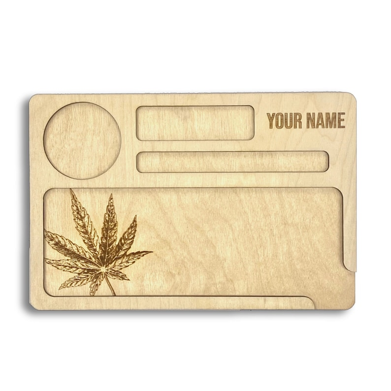 Customized Wooden Weed Rolling Tray Marijuana Laser Cut image 0